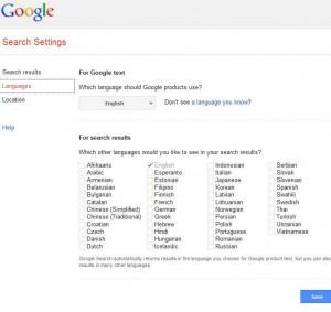 Ieithoedd chwilio Google