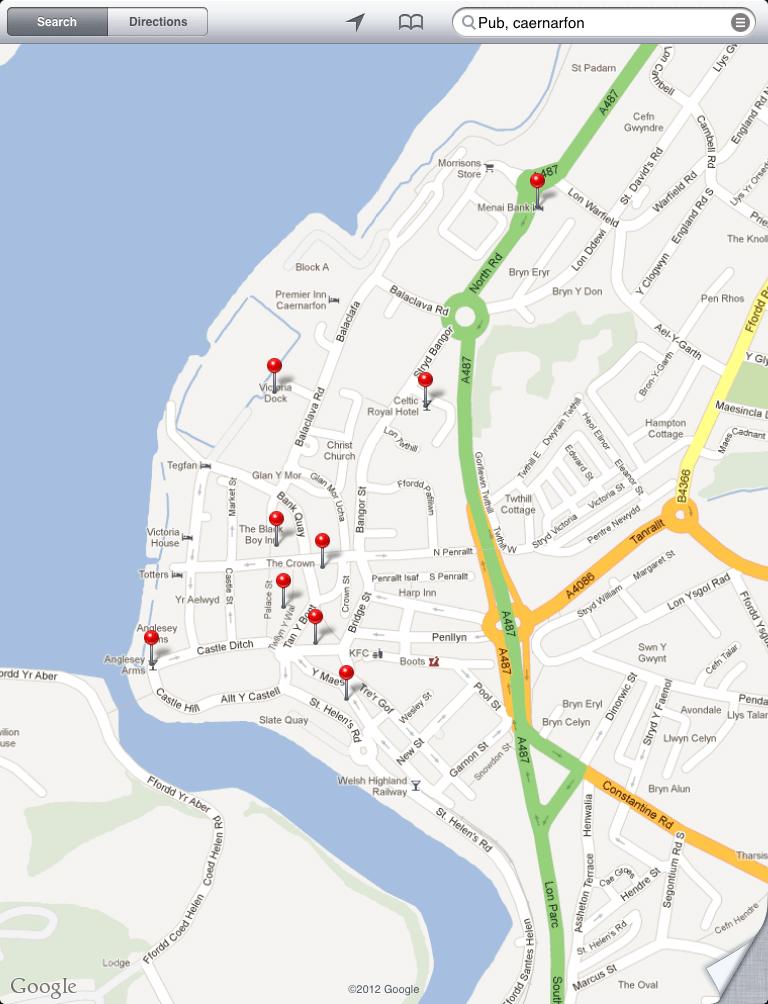 Google Maps Caernarfon - iOS 5