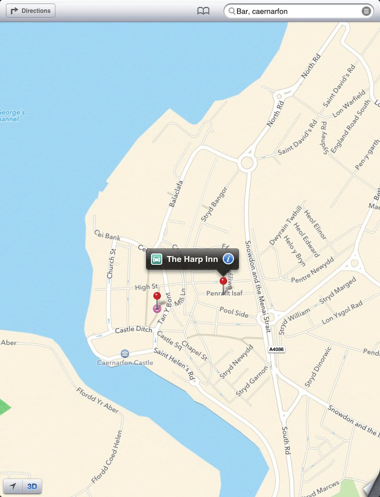Apple Maps Caernarfon - iOS 6
